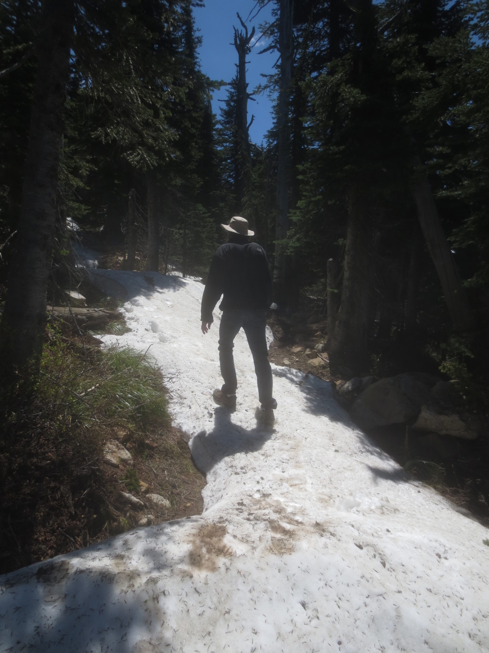hiking on snow in June