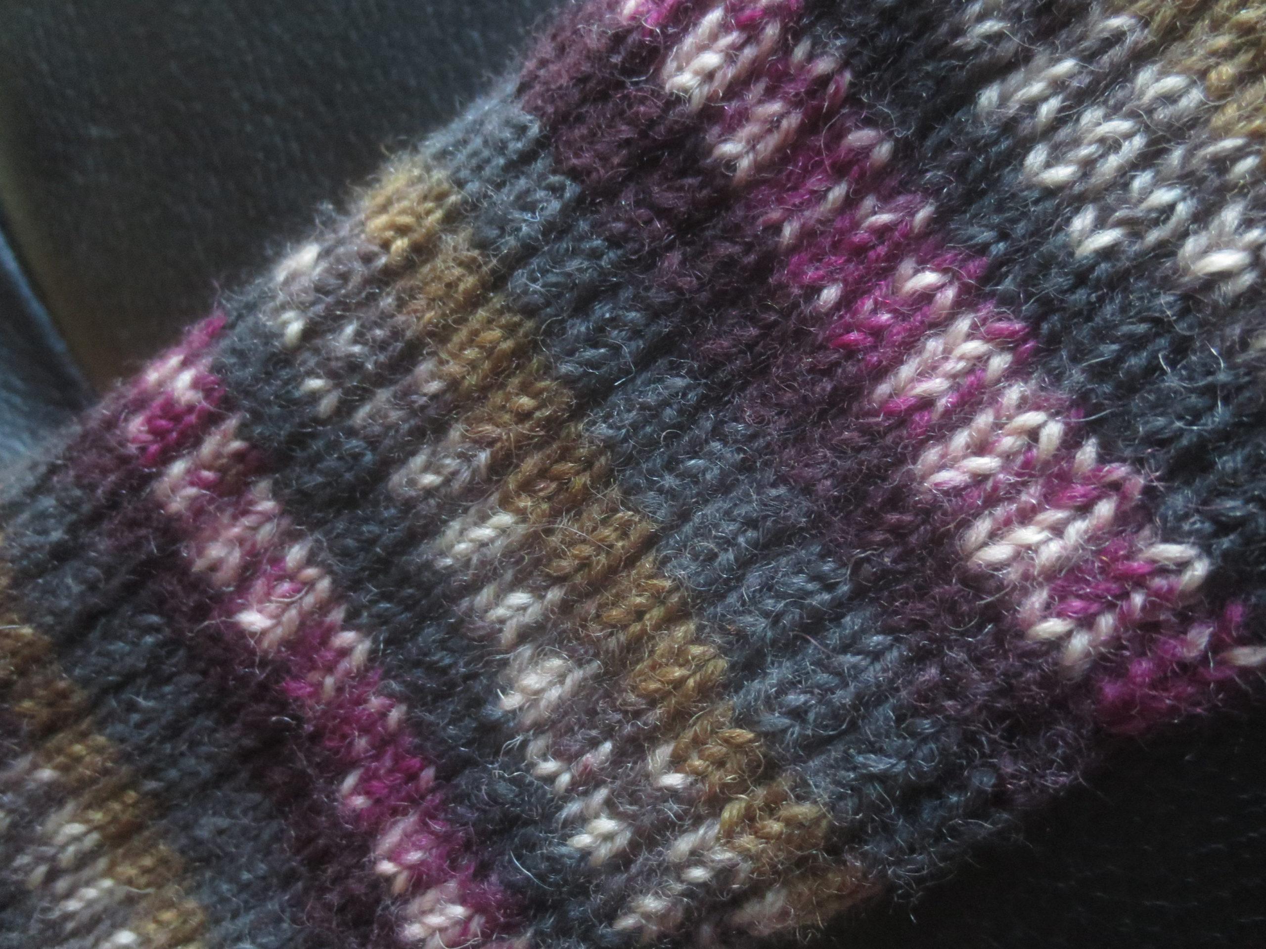 detail of hand knit socks