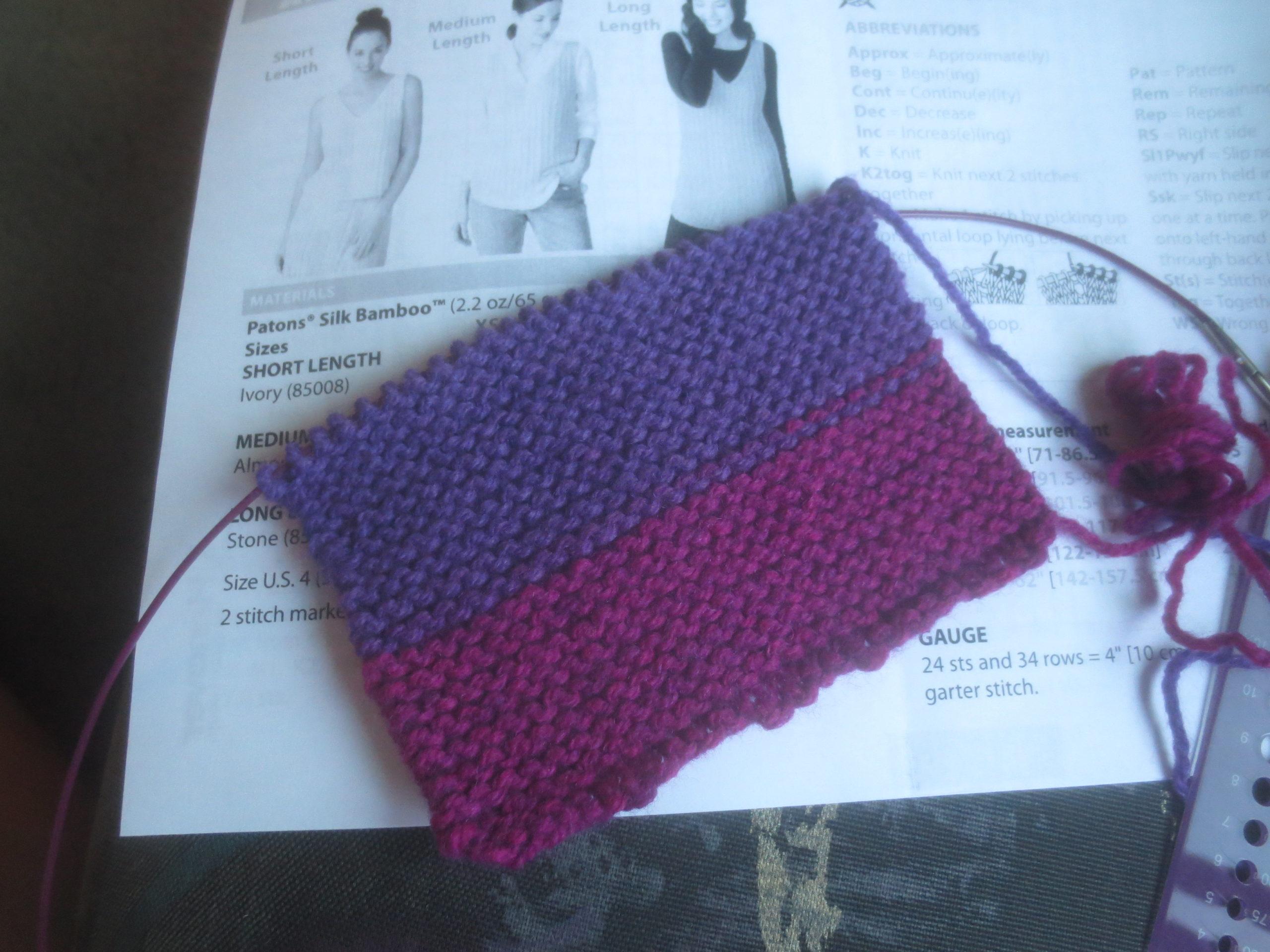 knitted gauge swatch in garter stitch