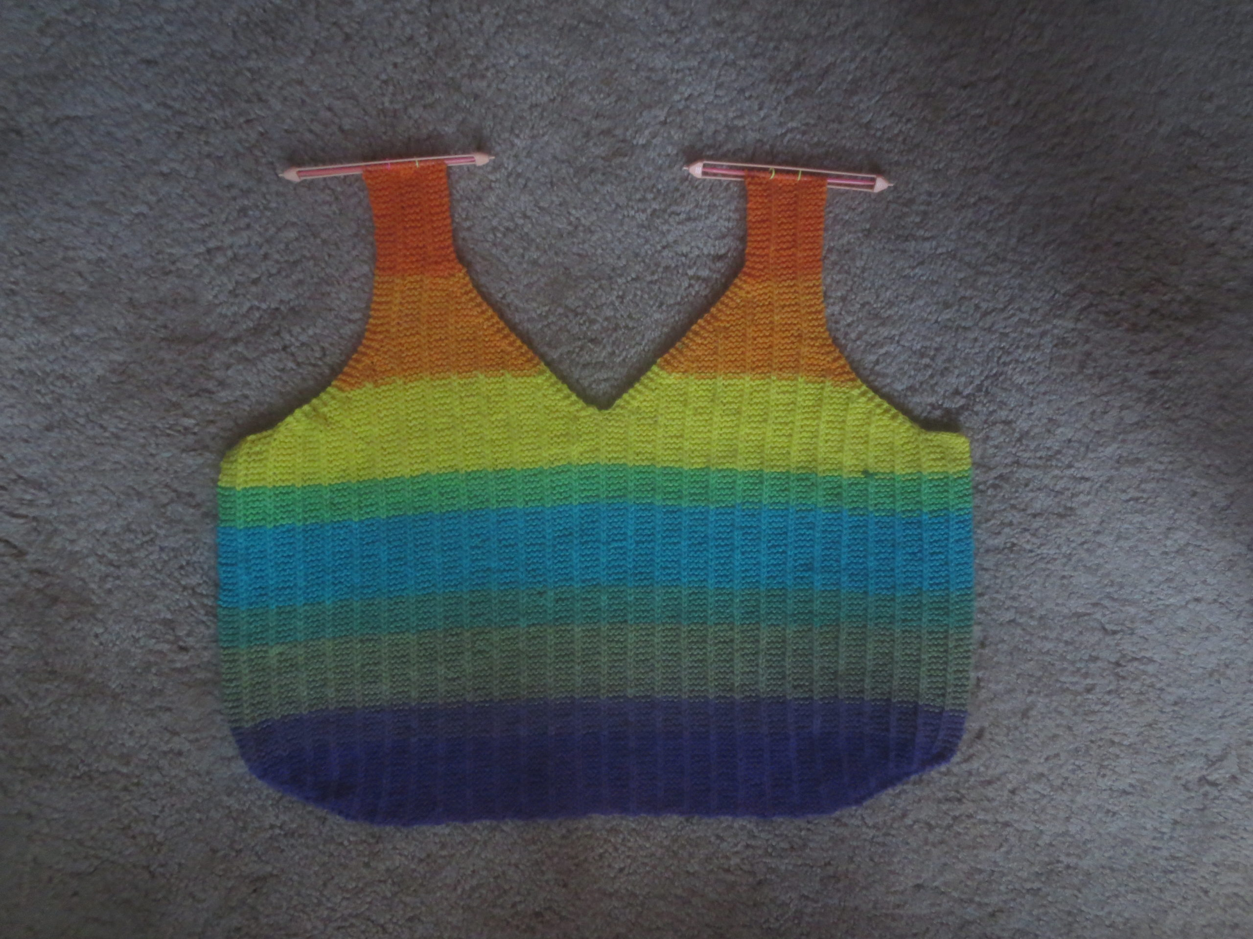 front panel of a knitted tank top