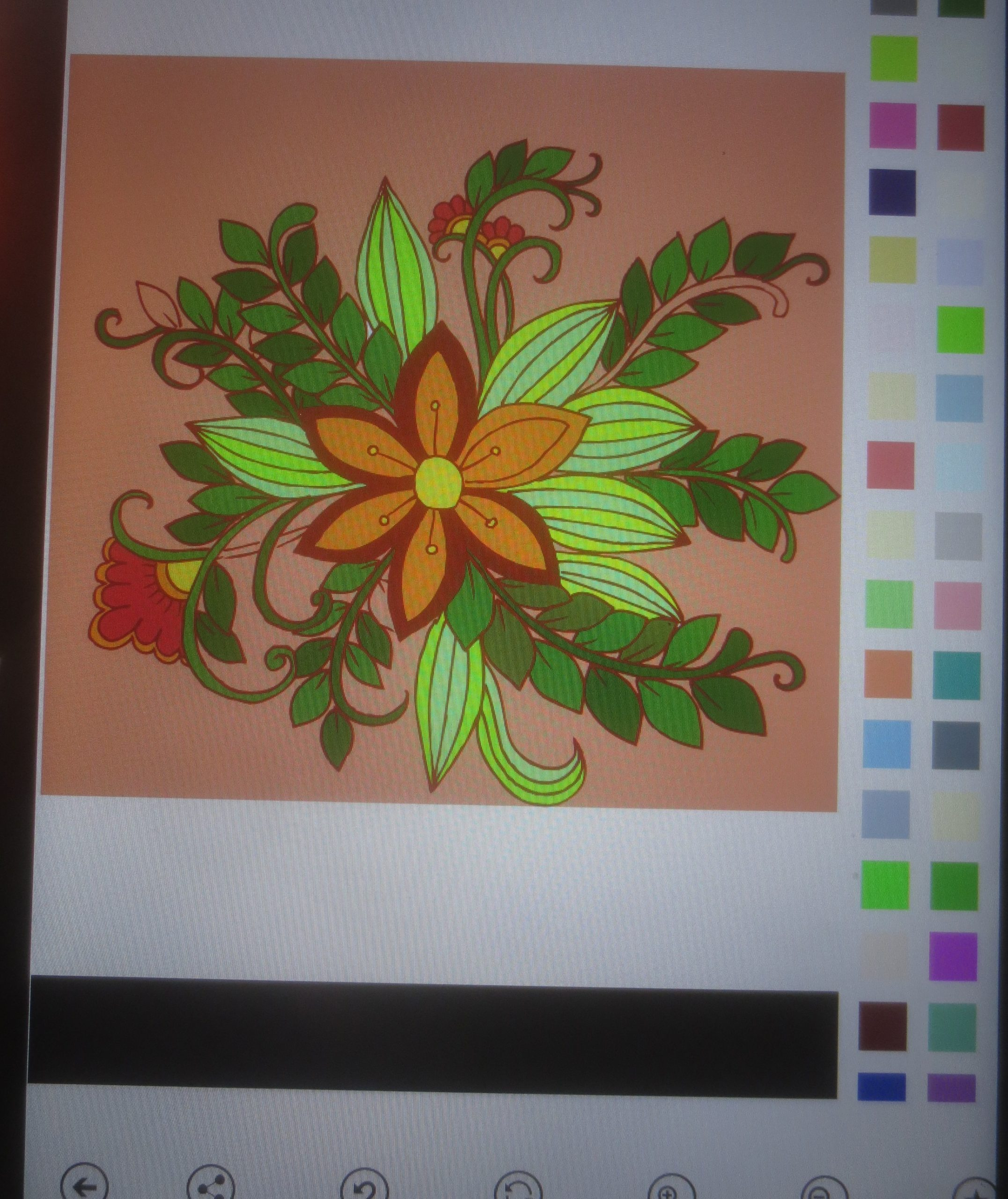 picture of a coloring book app on a tablet