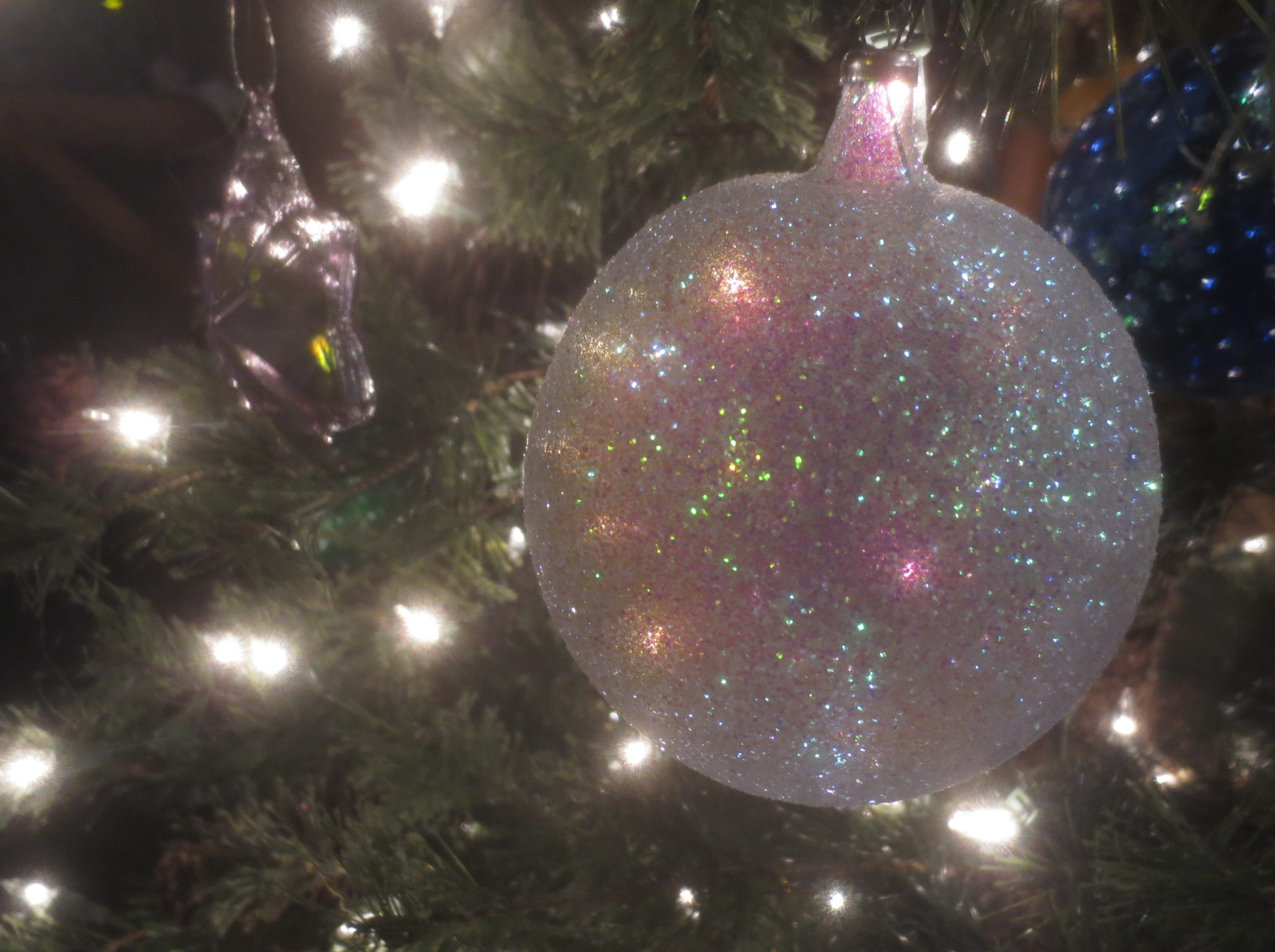 close up of a glittery Christmas ornament