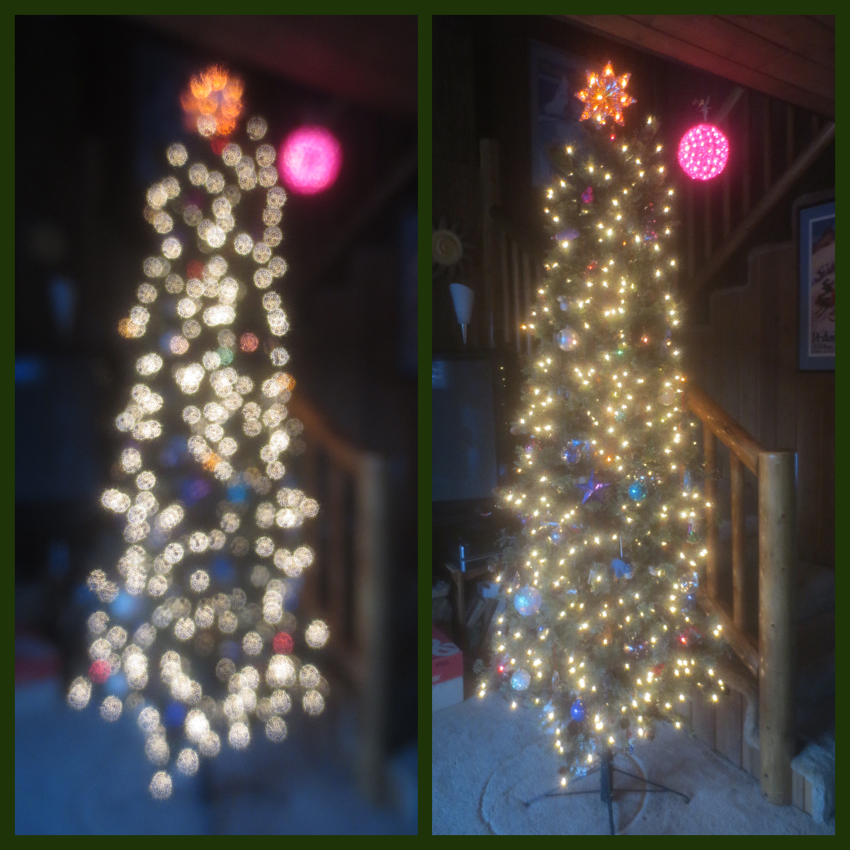 side by side images of a Christmas tree, one blurred, one not