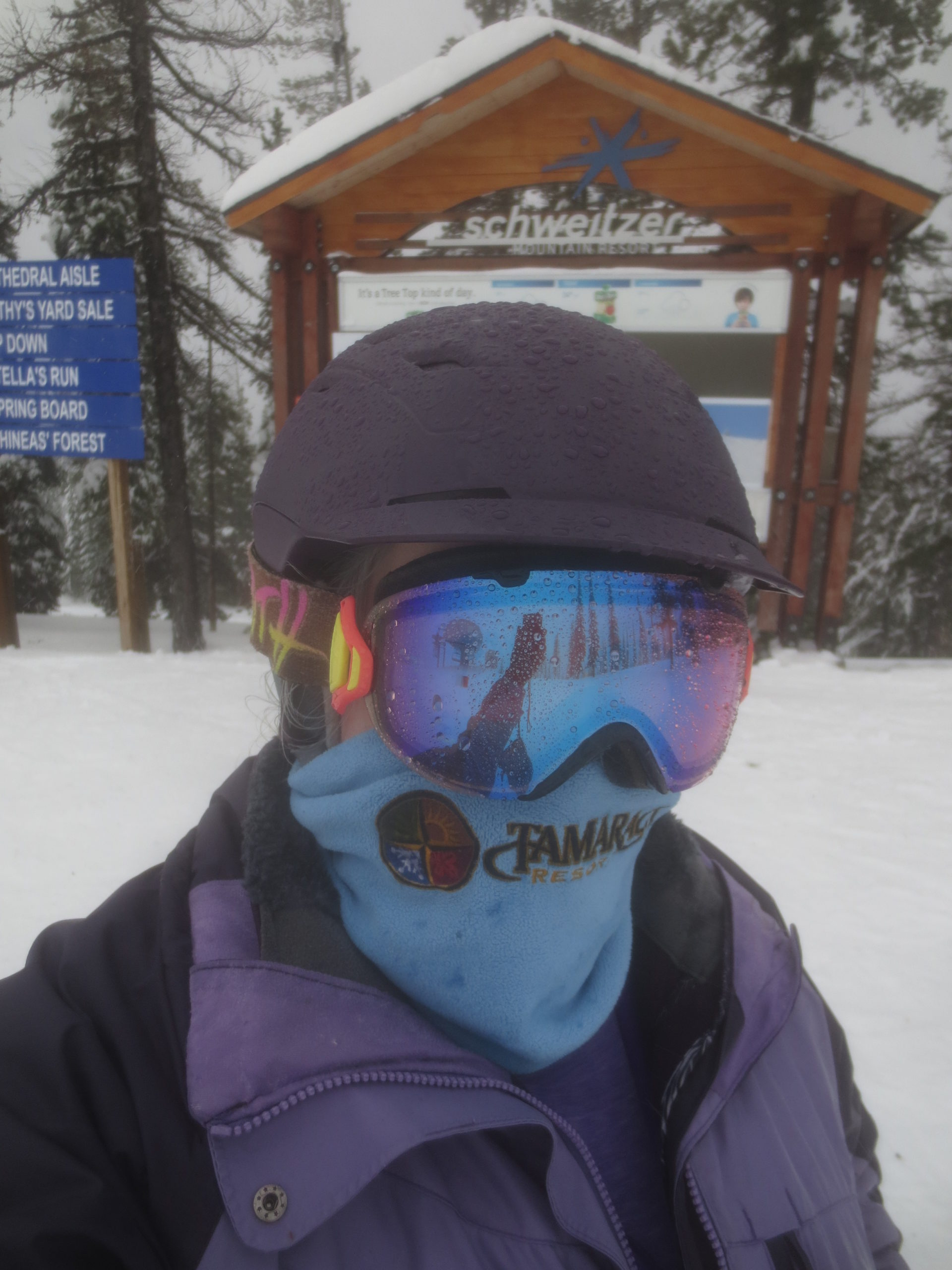 skier in helmet and goggles with raindrops on them