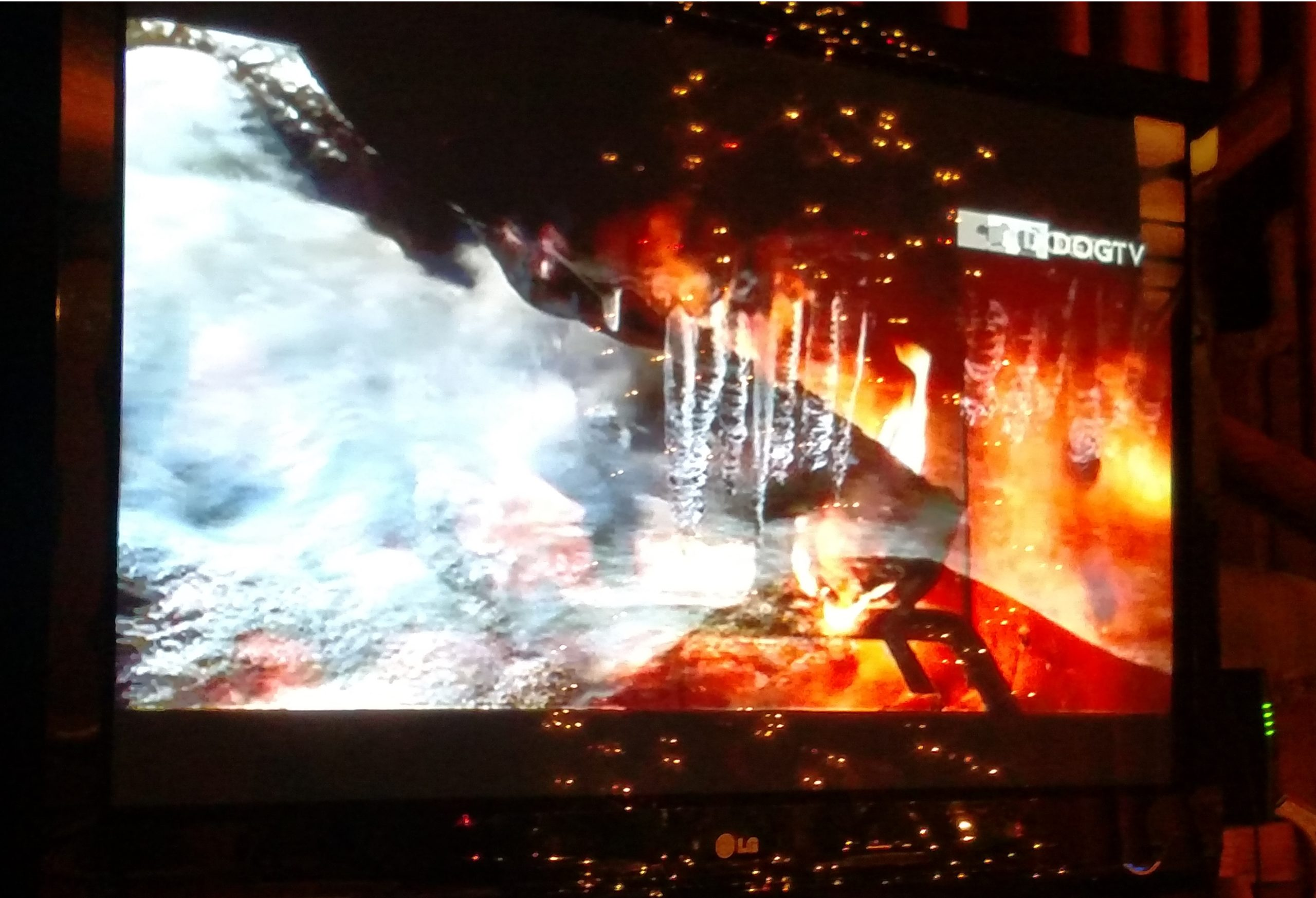 tv screen with image of ice and fire