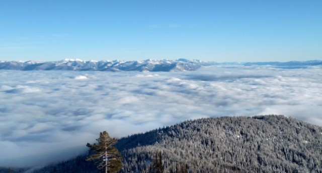 view from ski hill above the clouds