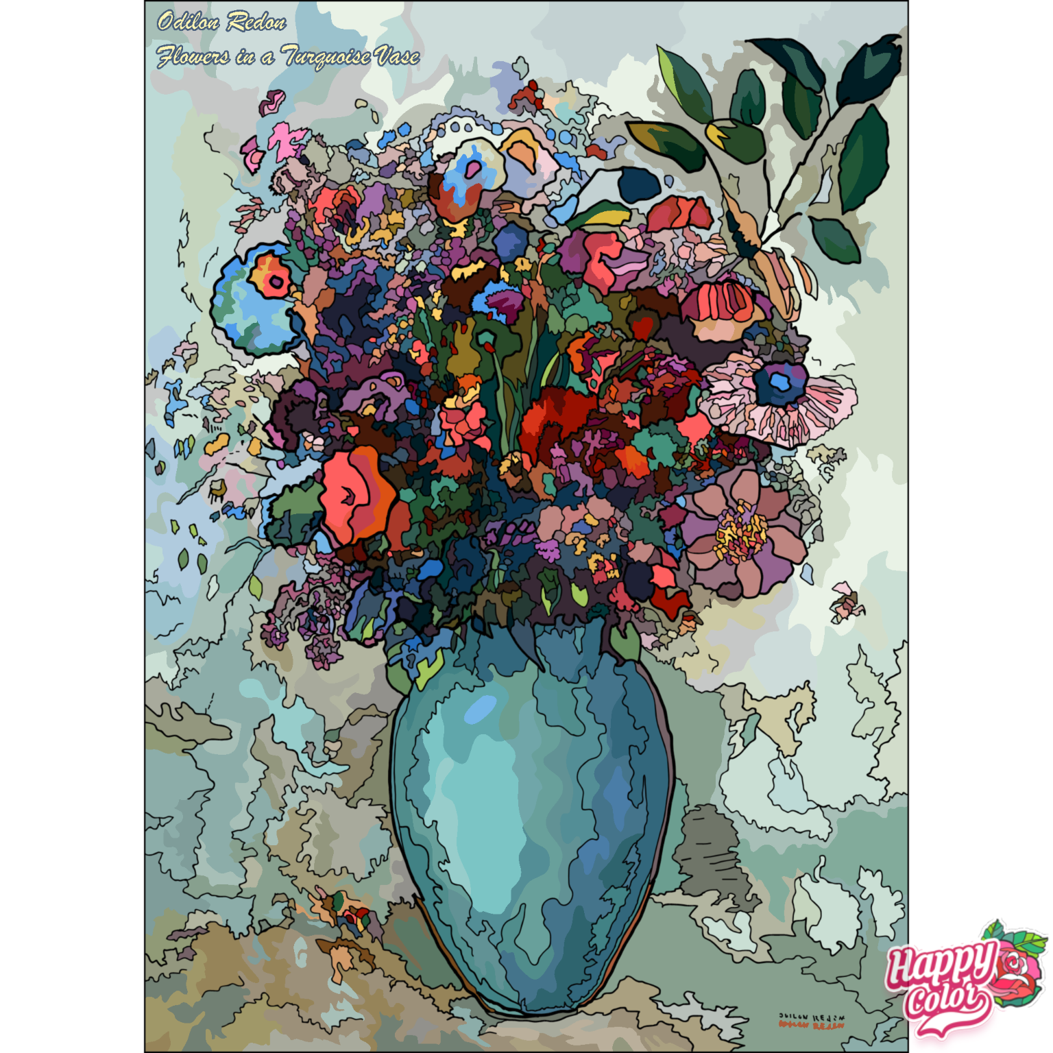 coloring book app image of flowers in a vase