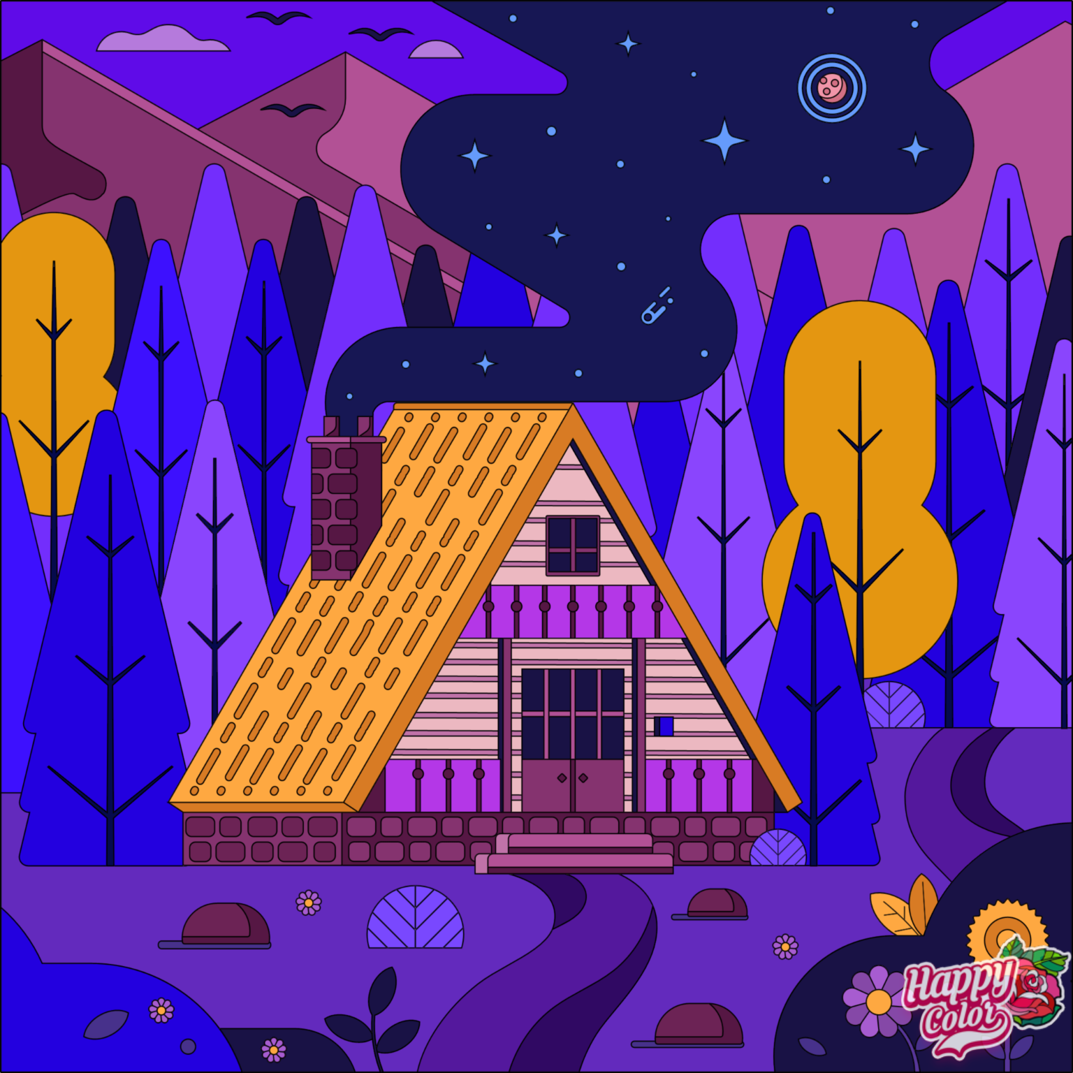coloring book app image of a ski chalet at night