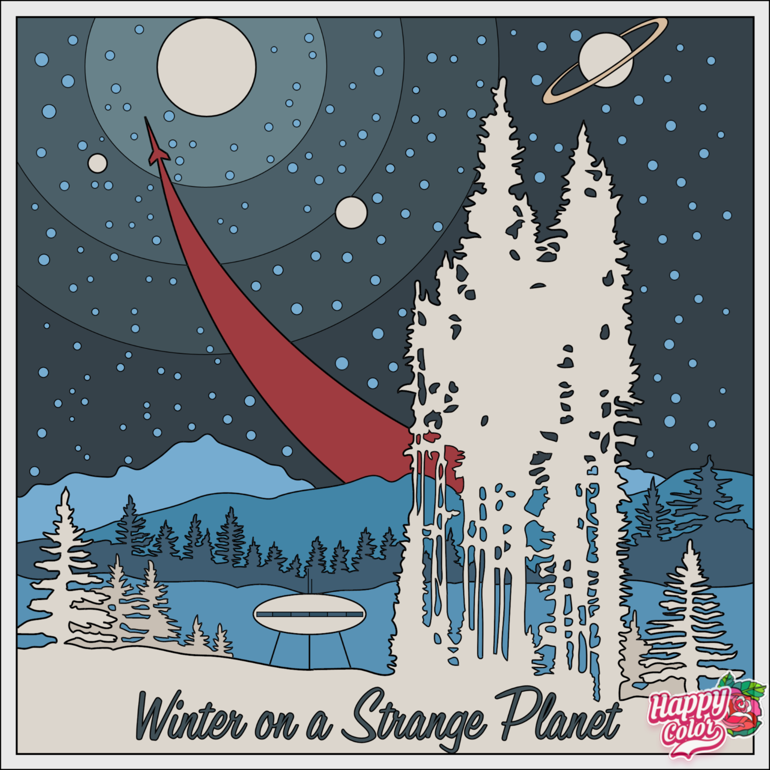 coloring book app image of a travel poster for winter on a strange planet