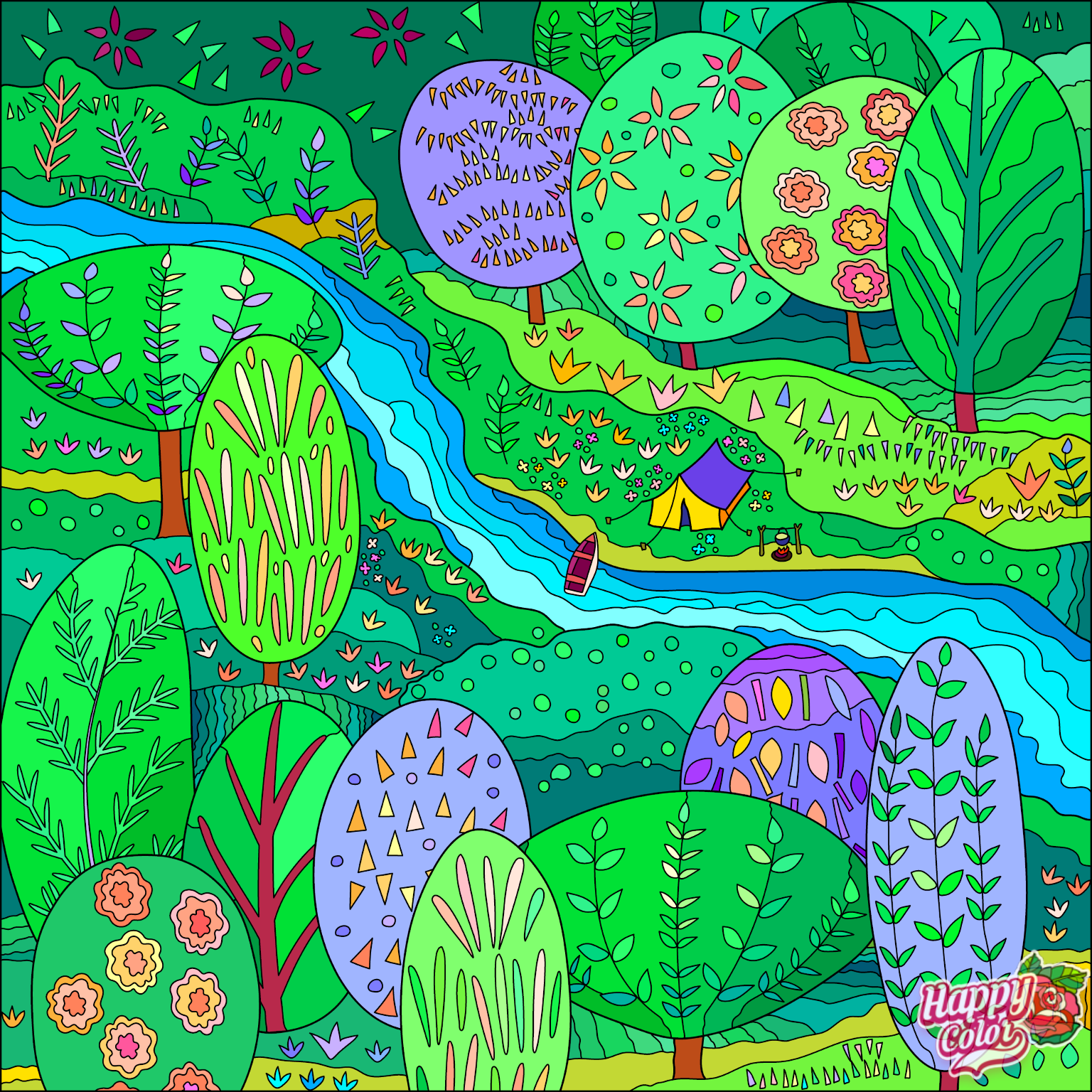 coloring book app image of a brightly colored forest with a river
